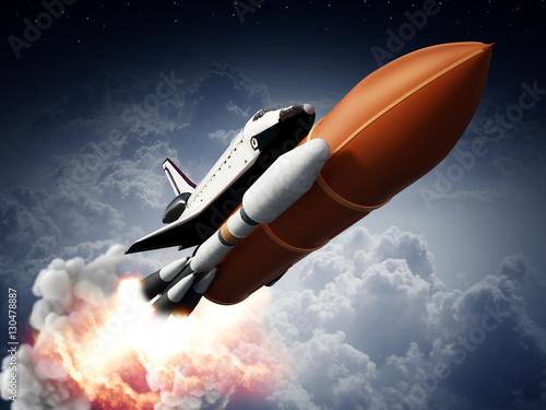 Fototapeta Rockets carrying space shuttle launches off. 3D illustration obraz na płótnie