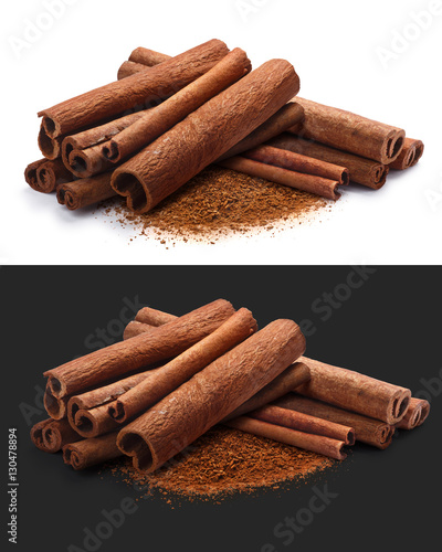 Fototapeta Piles of cinnamon in sticks and ground, paths obraz