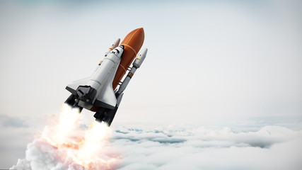 Fototapeta Rocket carrying space shuttle launches off. 3D illustration