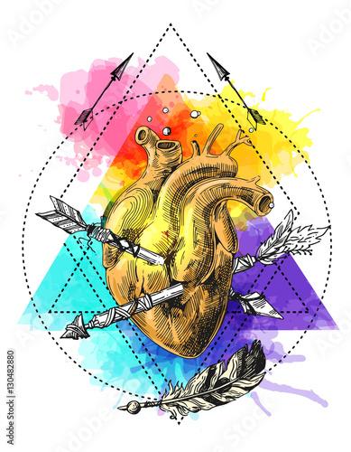 anatomiczne-serce-przebite-strzala