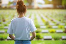 Teen Girl Standing Memorial Grave...