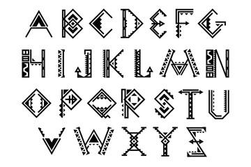 Ethnic font. Native american indian alphabet vector set