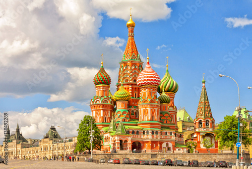 Foto op Canvas Moskou Cathedral of St. Basil at the Red Square in Moscow, Russia.
