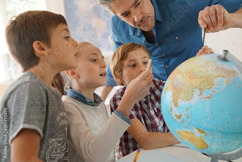 Teacher with kids in geography class looking at globe Wallpaper Mural