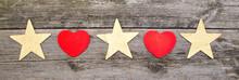 Jul Banner Med Hjärtan Och Stjärnor På Trä Bakgrund