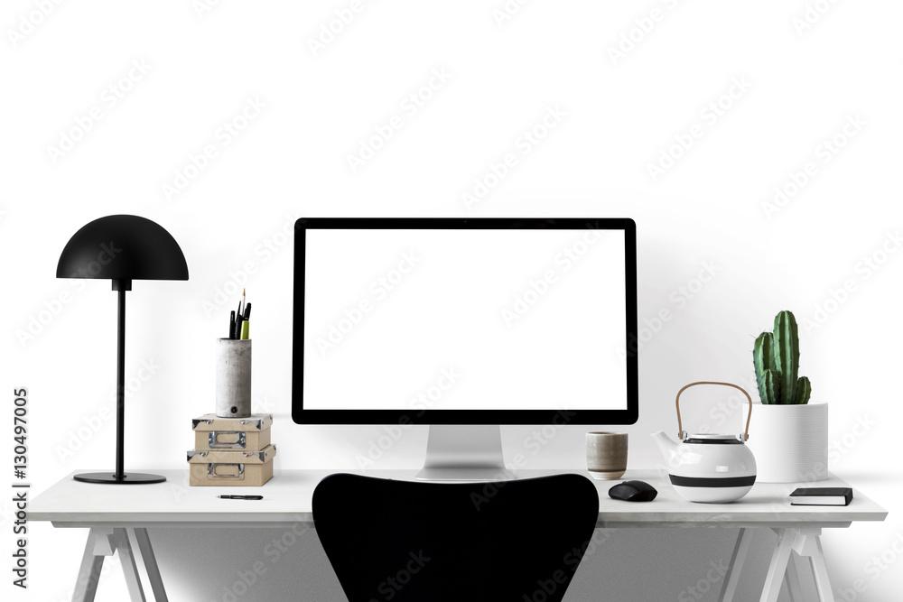 Photo & Art Print Moderne Arbeitsplatz/ schwarz/ weiß - Textfreiraum ...