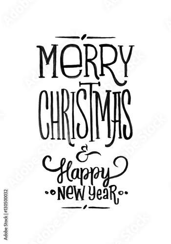 merry christmas happy new year retro vector poster black and white