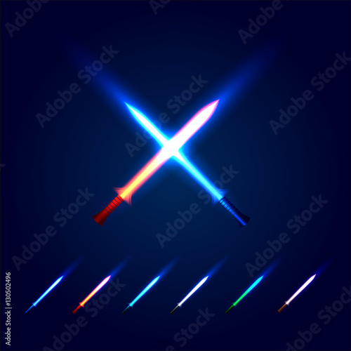 Isolated blue and red color cossed light swords logo Fototapet