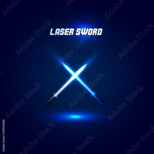 Isolated cossed light swords logo Tablou Canvas
