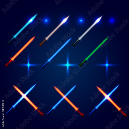Isolated blue and red color cossed light swords logo set Wallpaper Mural