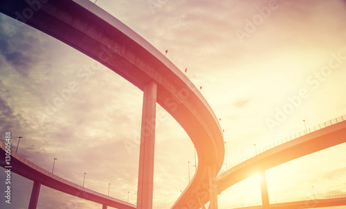 urban overpass with sunlight retro effect image Wallpaper Mural