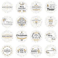 Set of Merry Christmas and Happy New Year Decorative Badges for Greetings Cards or Invitations. Vector Illustration. Typographic Design Elements. Golden and Black Color Theme