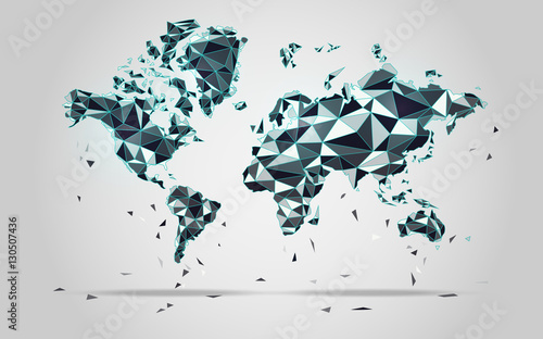 World map in polygonal style; polygon elements for info graphics; falling apart Canvas Print