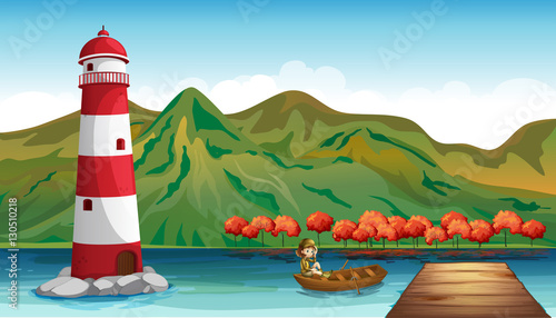 Aluminium Prints River, lake Scene with lighthouse and girl in boat