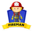 Occupation wordcard with fireman