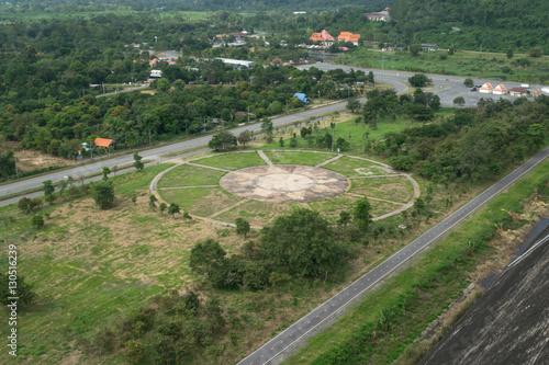 Poster Olive Helicopter landing port on green grass at Khundan Prakranchon da