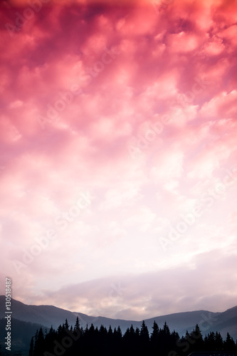 Photo Stands Candy pink A beautiful colorful sunset in Tatra mountains. Decorative look