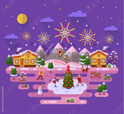 Flat design vector nature winter landscape illustration with sky full of firework lights, village, Christmas tree on ice, skating girl, skiing boy, snowman, bench, mountain. Merry Christmas concept.