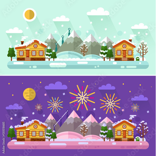 Foto op Aluminium Snoeien Flat design vector Day and Night winter landscape illustration with sky full of firework lights, cartoon village, sun, moon, snowfall, mountain. Happy Holidays and Merry Christmas concept.
