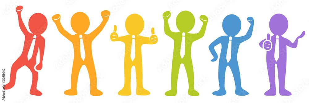 Valokuva  Set: Motivierte und erfolgreiche Business-Männchen - Vektor / farbig / freigeste