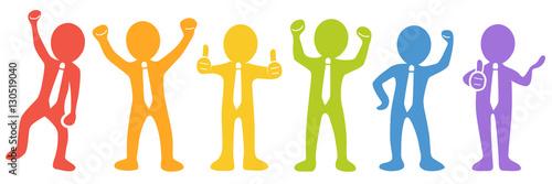 Photo  Set: Motivierte und erfolgreiche Business-Männchen - Vektor / farbig / freigeste
