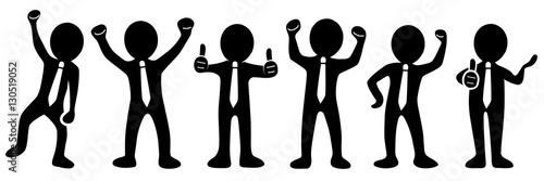 Valokuva  Set: Motivierte und erfolgreiche Business-Männchen - Vektor / freigestellt