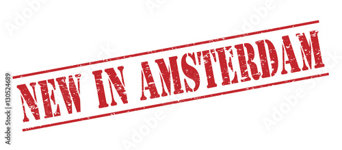 new in amsterdam red stamp on white background Canvas Print