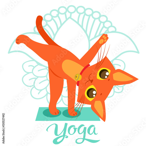 Cartoon Funny Cat Icons Doing Yoga Position Yoga Cat Pose Yoga Cat Vector Yoga Cat Figurine Cat As Toy Yoga Cat Statue Yoga Cat Balance And Meditation Buy This Stock Vector