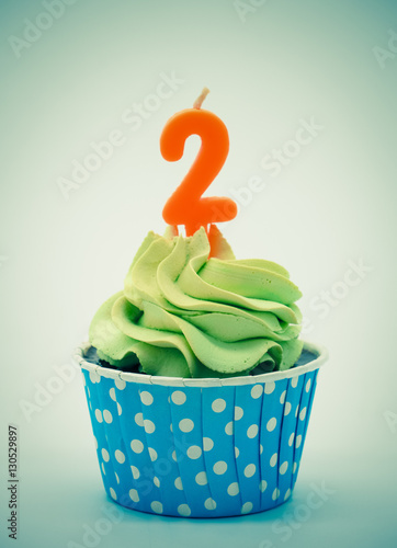 Retro Color Chocolate Cupcakes With Candles 2 On White Background Birthday Or Anniversary Concept