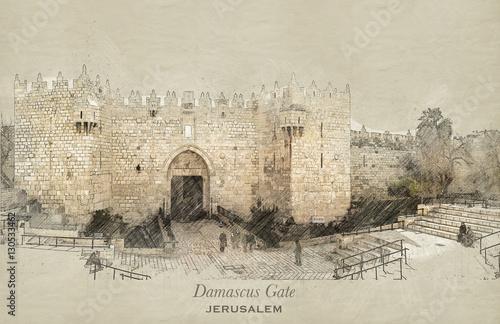 Sketch of Damascus Gate, Jerusalem