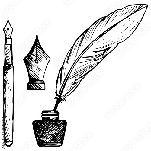 ancient pen  inkwell and old ink pen