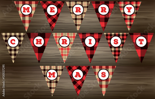 graphic regarding Christmas Banner Printable named Lumberjack MERRY Xmas Banner within just Pink, Black and Beige