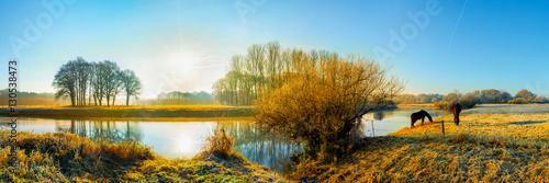 Fotobehang Blauw Landschaft im Herbst; zwei Pferde auf einer Weide am Fluss