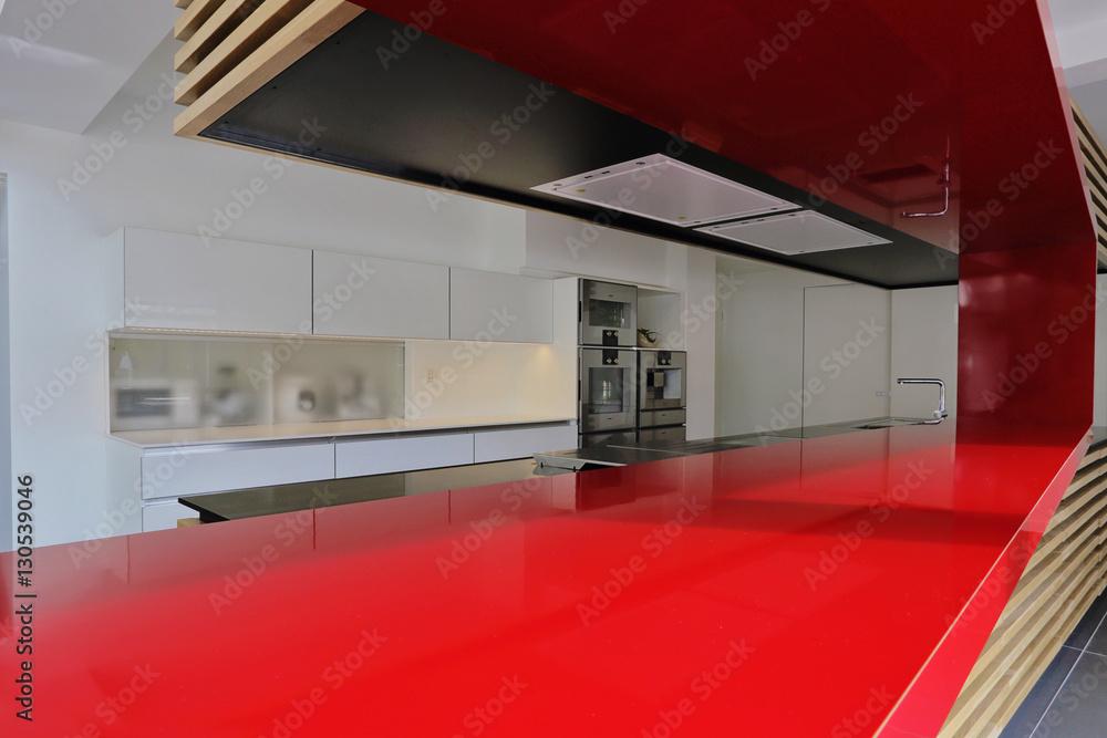 plan de travail rouge cuisine moderne Foto, Poster, Wandbilder bei ...