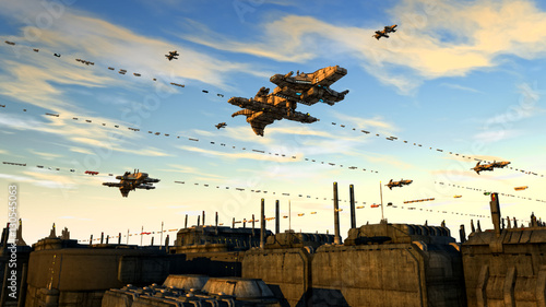 Photo  3d render. Unidentified flying object. Futuristic spaceship