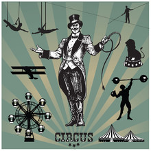 Circus And Amusement Park Vector Illustrations.Animal Trainer