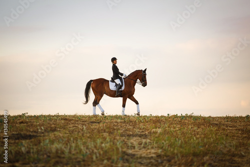 Fotografía  woman riding brown horse wearing helmet