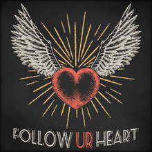 Hand Drawn Vector Sketch Illustration - Creative Vintage Valentines Day Love Card Design, Heart With Sunburst And Wings, Black Chalkboard Background.