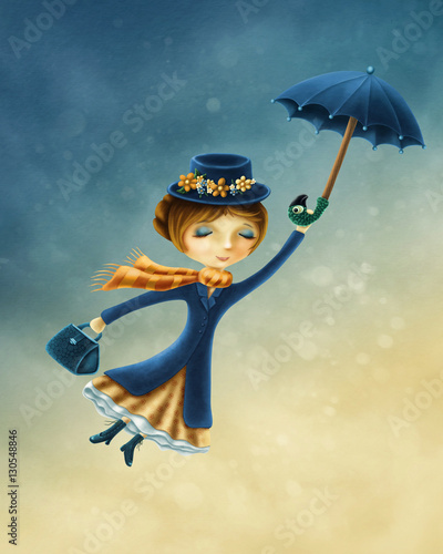 Vászonkép Woman flying with an umbrella