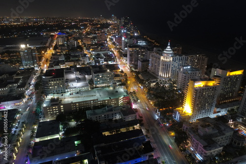 Spoed Foto op Canvas Tokyo Aerial night photo Miami Beach FL, USA