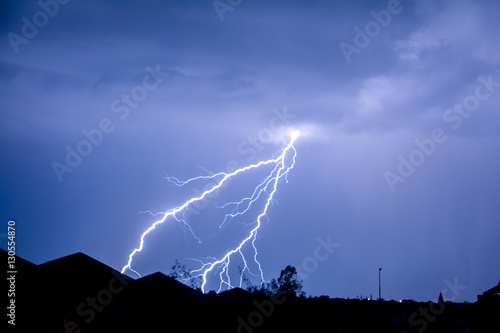 Cloud to Ground forked Lightning Strike & Cloud to Ground forked Lightning Strike - Buy this stock photo and ...