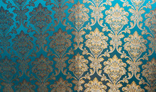 The Texture Of Silk With A Floral Pattern. Chinese Silk Brocade, Beautiful Expensive Fabric Background. Gold Ornament Turquoise Embroidery On Fabric