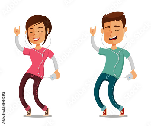 Funny Cartoon People Listening To Music From Their Cell Phone Buy This Stock Vector And Explore Similar Vectors At Adobe Stock Adobe Stock