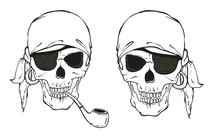 Two Pirate Skulls With Hat, Sm...