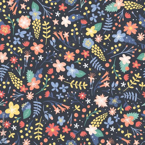 Cotton fabric Hand drawn flower seamless pattern vector.