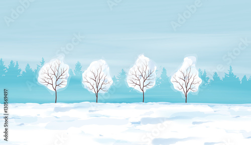 Fotobehang Lichtblauw Watercolor Winter Landscape Vector Illustration.