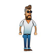 Hipster man cartoon icon. Male avatar person people and human theme. Isolated design. Vector illustration