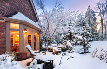 Wintry Home At Sunset - Patio ...