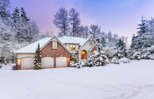 Driveway View Of Snowy Home - ...