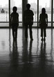canvas print picture Silhouette of three young people